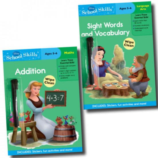 Wipe Clean Disney School Skills 2 Books Collection
