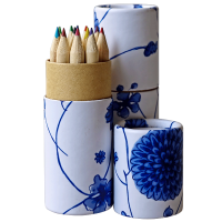 Wooden colored Pencil in Blue and White Porcelain